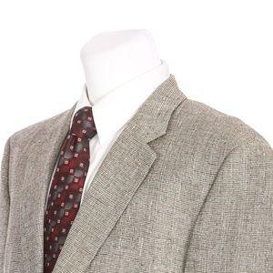 Chaps 2 Button Pure Silk Beige Brown Sport Coat